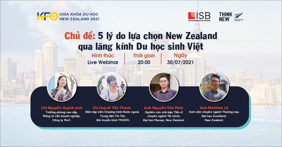 Hình banner sự kiện Chìa khóa du học New Zealand 2021 - Chủ đề #5: 5 lý do chọn New Zealand qua lăng kính Du học sinh Việt